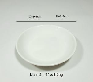 Dĩa mắm 4'' sứ trắng