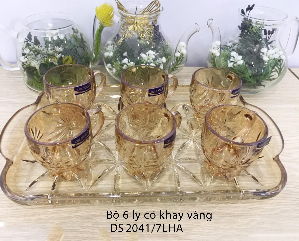 Bộ 6 ly có khay vàng