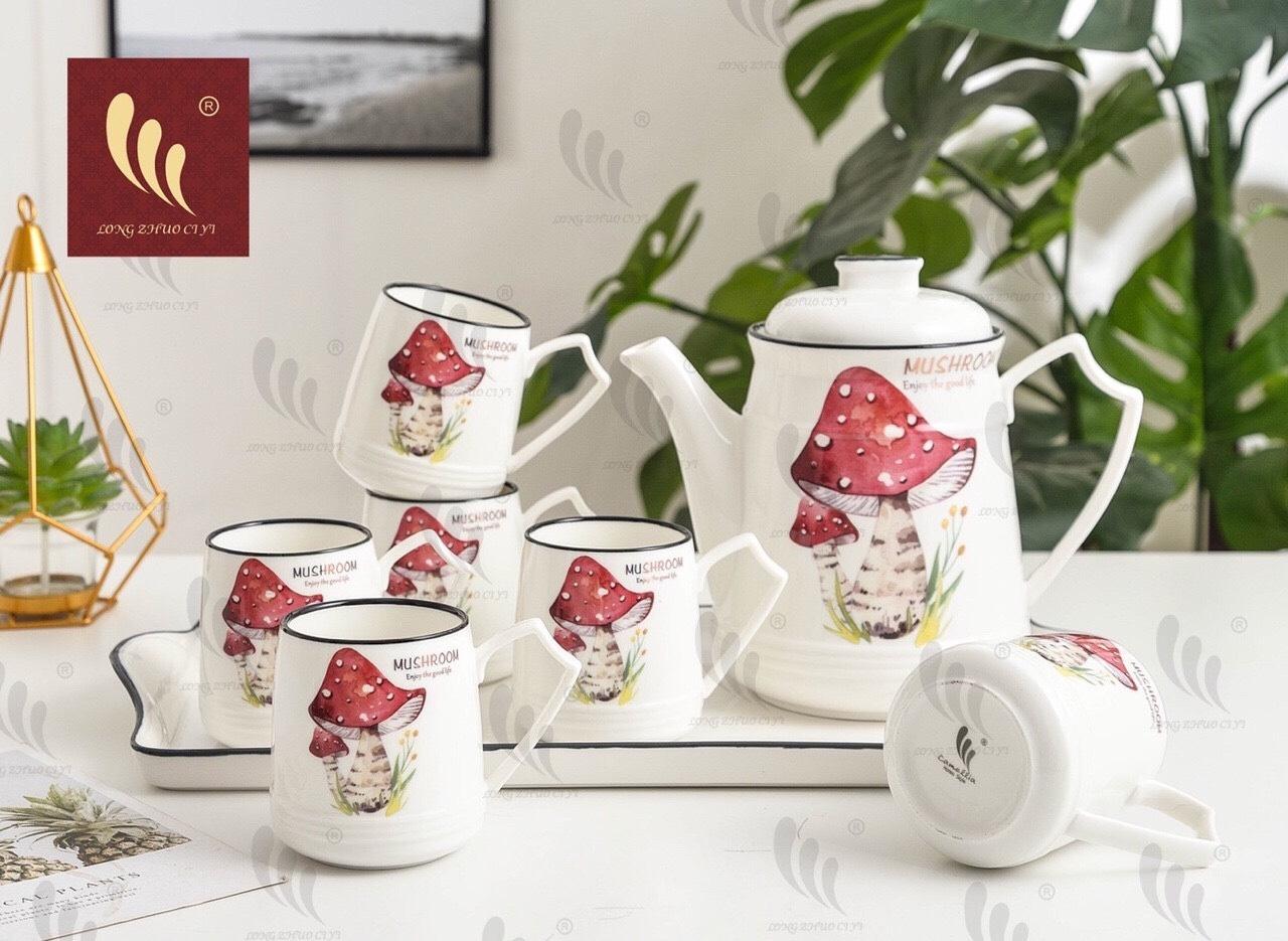 Bộ tách trà bình cao có khay hoa