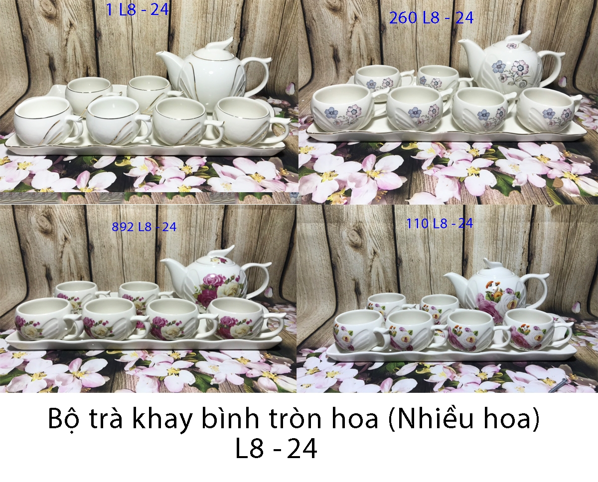 Bộ trà khay bình tròn hoa ( nhiều bông )